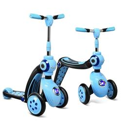 2-in-1 Kids Convertible Blue Kick Scooter Balance Trike With