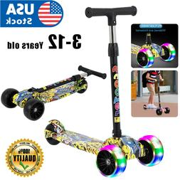 3 Wheel Adjustable LED Kick Scooter Deluxe Height T-bar Glid