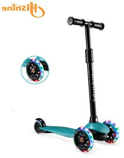 Dark Green Kick Scooter for Kids with 3 Big Light Up Wheels,