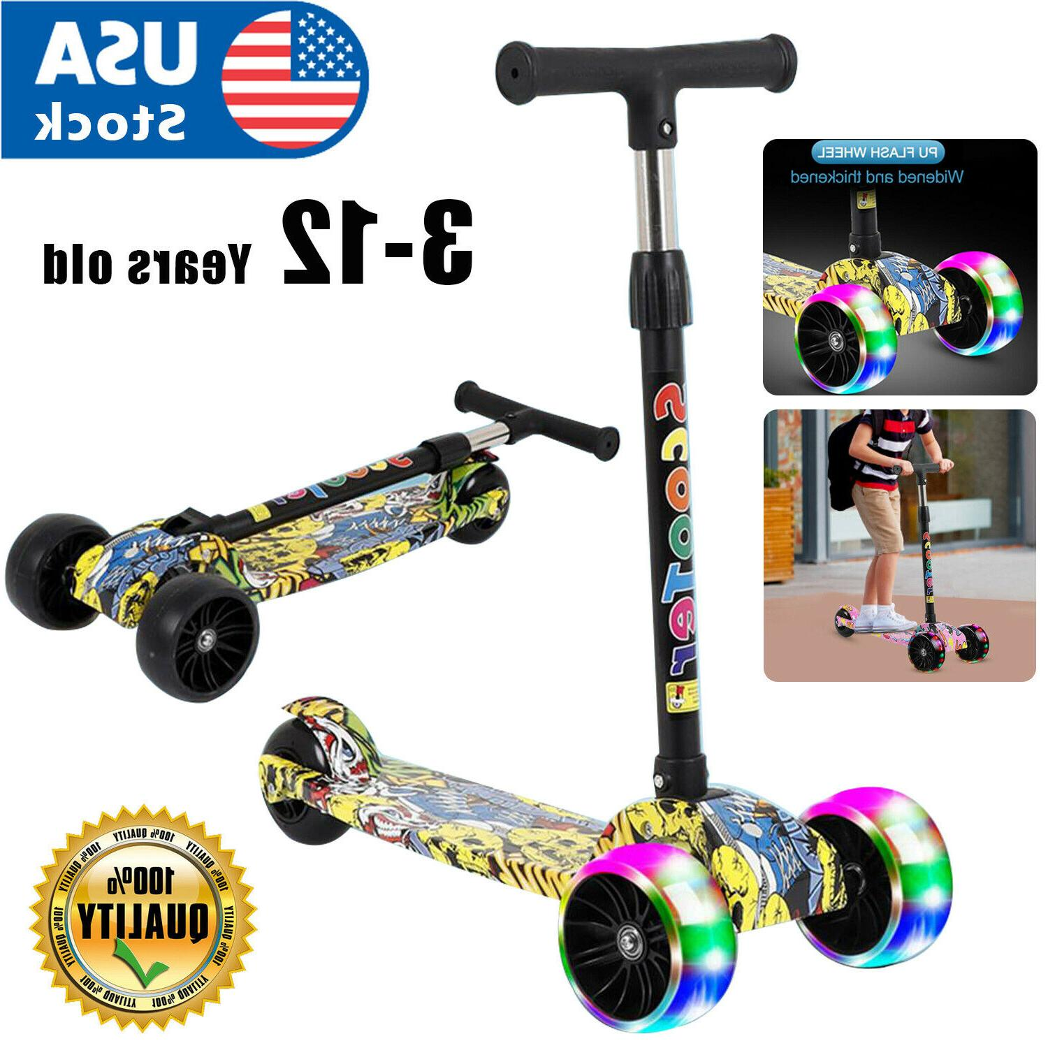 3 wheel adjustable led kick scooter deluxe