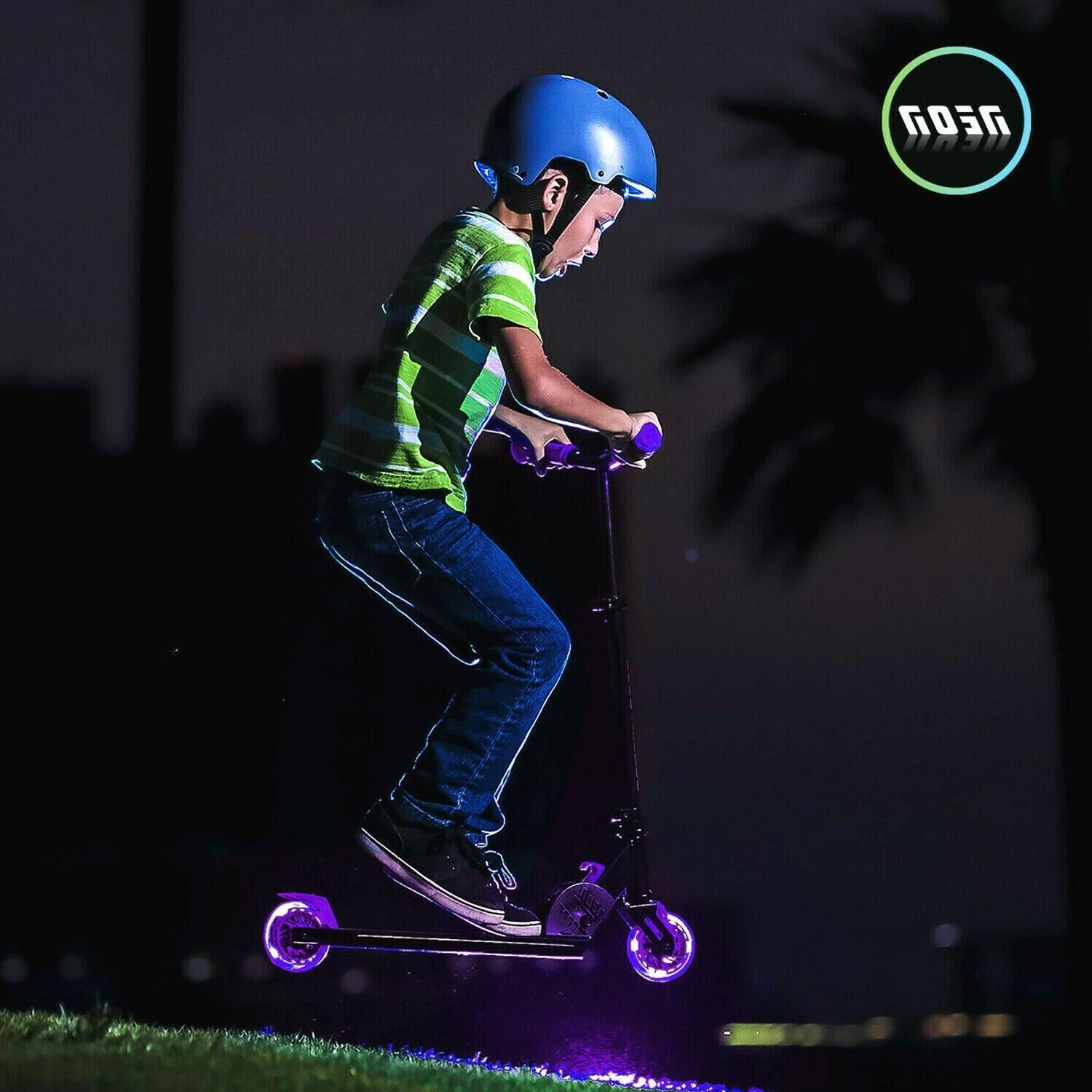 neon vector kick scooter with led wheels