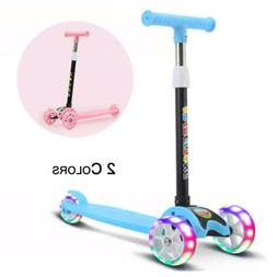 LED Kick Scooter Deluxe 3 Wheel Adjustable Height T-bar Glid