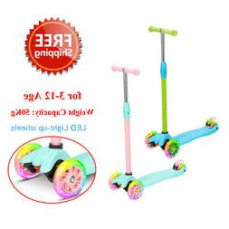 Kick Scooter Kids with 3 Light Up Wheels Adjustable Height f
