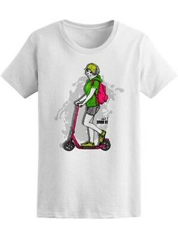 White Cat-Girl On A Kick Scooter Women's Tee -Image by Shutt
